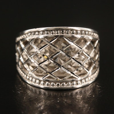 14K Domed Cutout Lattice Ring