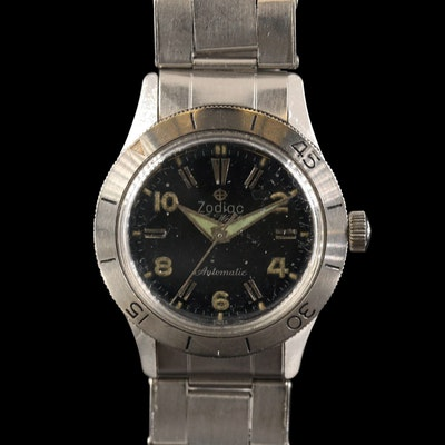 Vintage Zodiac Sea Wolf Stainless Steel Automatic Wristwatch