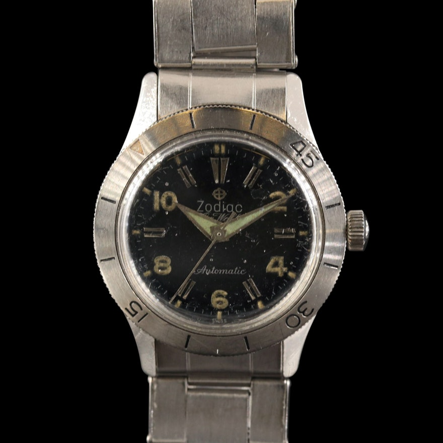Vintage Zodiac Sea Wolf Stainless Steel Automatic Wristwatch