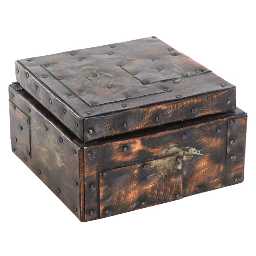 "Paul Evans Copper-Plated Patchwork 6"" Humidor"