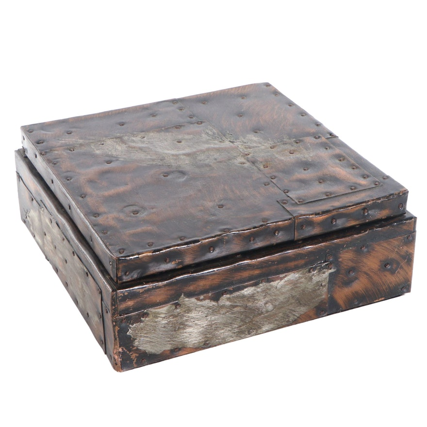 """Paul Evans Copper-Plated Patchwork 10"""" Humidor"""