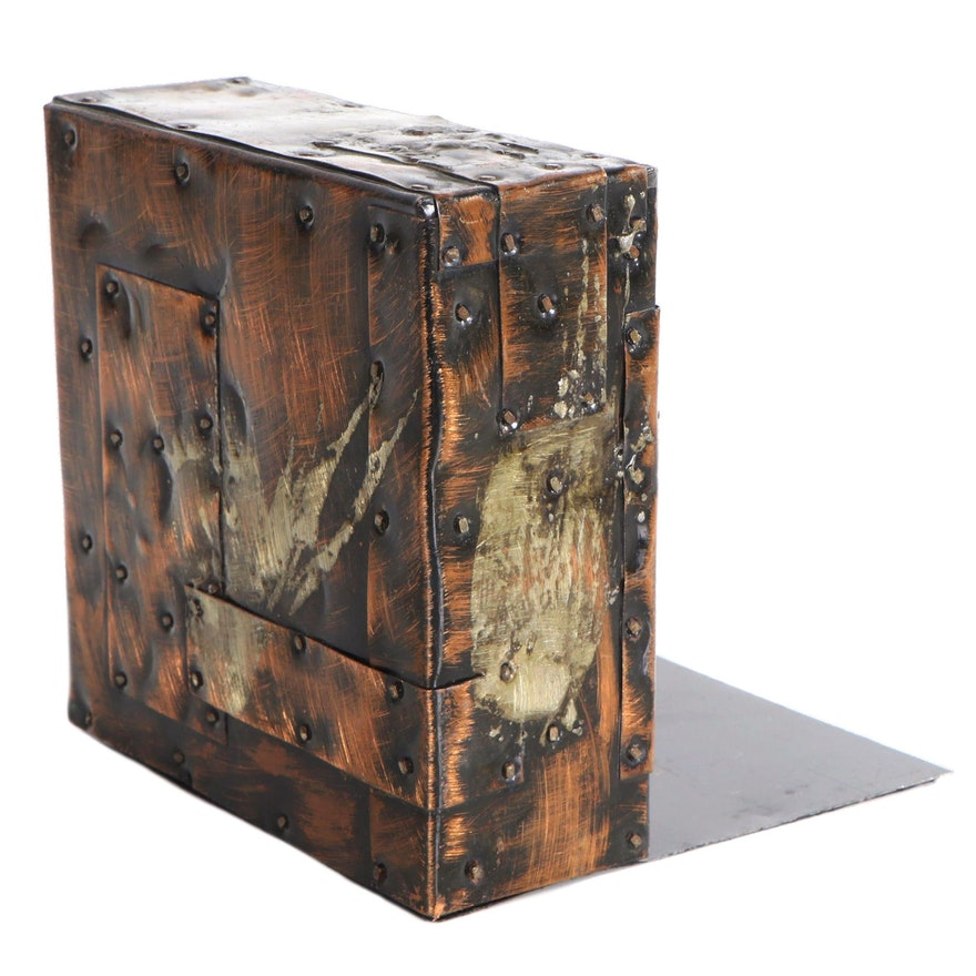 Paul Evans Copper-Plated Patchwork Bookend