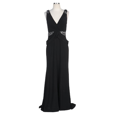 Alberto Makali Black Embellished Evening Dress and Silver Ruffle Shrug