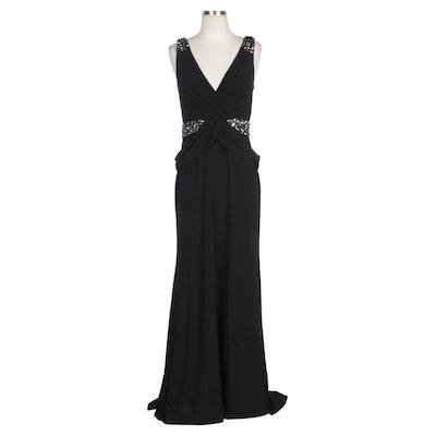 Alberto Makali Black Embellished Evening Dress and Silver Ruffle Shrug