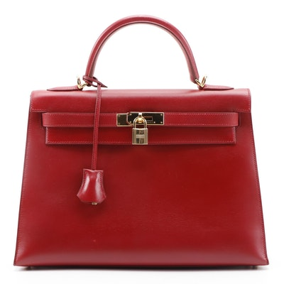 Hermès Kelly 32 Satchel in Ruby Box Calf Leather