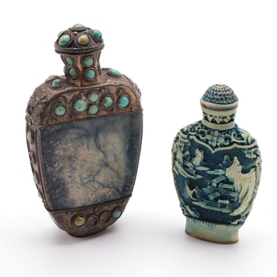 Chinese Calcite Snuff Bottle with Turquoise Inlays and Molded Resin Snuff Bottle