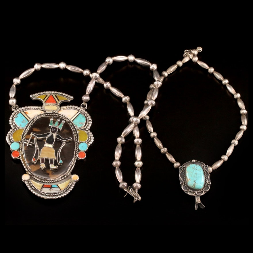 Western Sterling Gemstone Necklaces Featuring Kachina and Squash Blossom