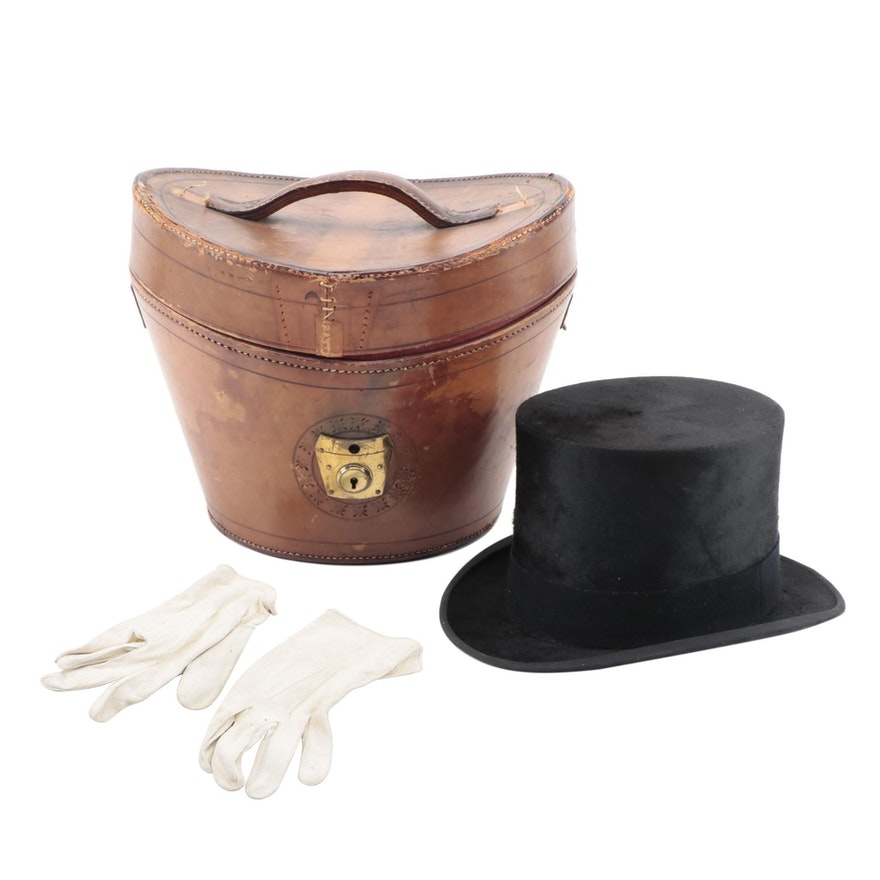 Leather Top Hat Box Case with Black Wool Silk Top Hat and Kid Suede Gloves