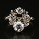 Edwardian 18K 1.09 CTW Diamond Ring with Platinum Garland Accents