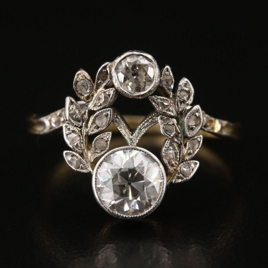 Edwardian 18K 1.09 CTW Diamond Ring with Platinum Garland Accents