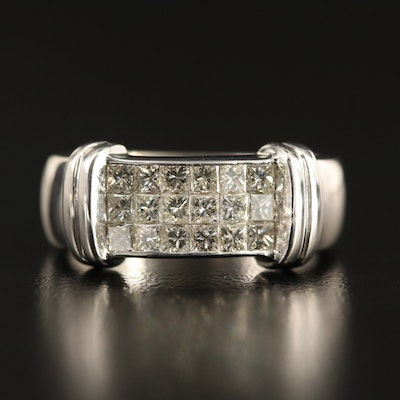 18K Diamond Triple Row Invisible Set Ring
