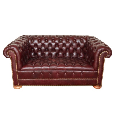 Tufted Leather Chesterfield Loveseat Sofa