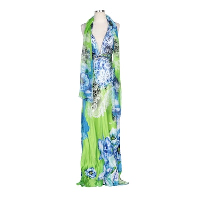 Alberto Makali Rhinestone Embellished Floral Printed Silk Halter Dress with Wrap