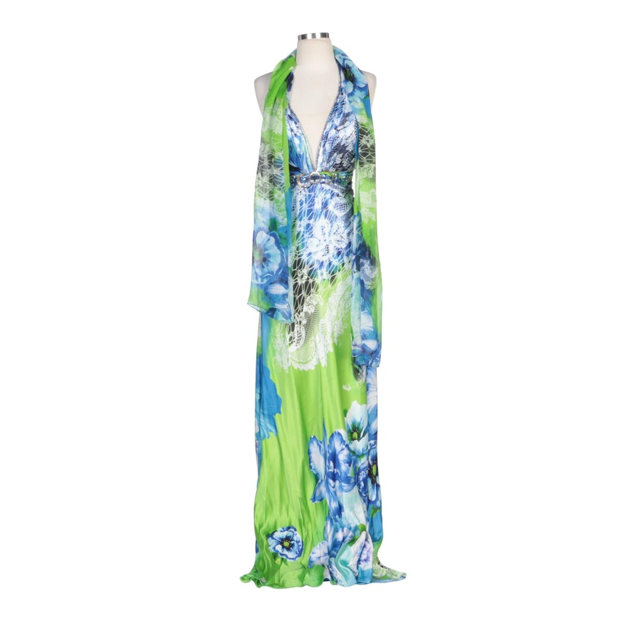 Alberto Makali Rhinestone Embellished Floral Printed Silk Halter Dress with Wrap