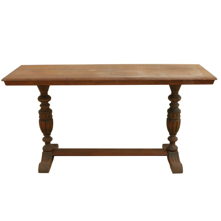Jacobean Style Mahogany-Stained Trestle Console Table