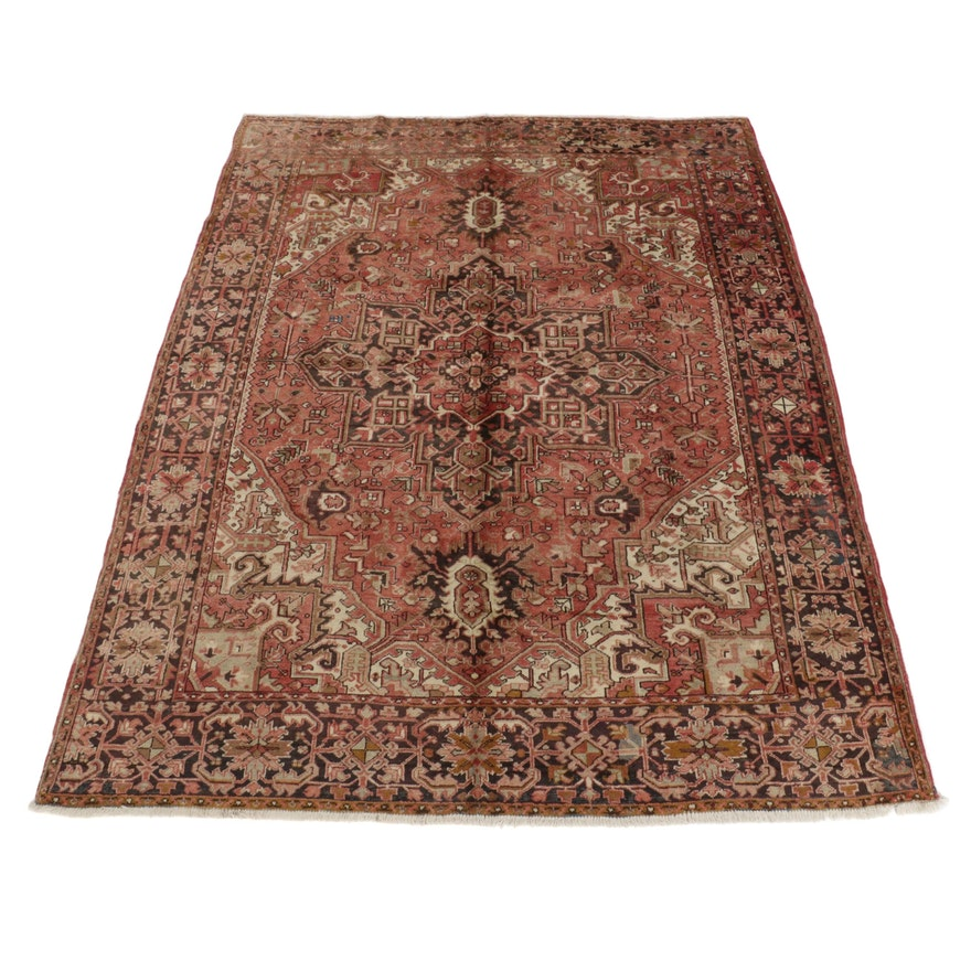 9' x 11'7 Hand-Knotted Persian Heriz Room Sized Rug, 1970s