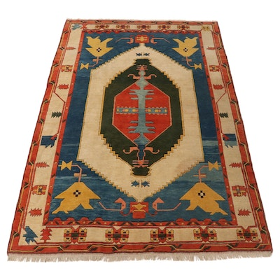 7'4 x 11'1 Hand-Knotted Turkish Azari Village Area Rug, 1970s