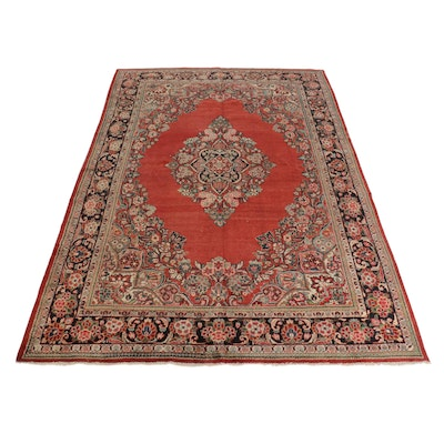 10'1 x 14'6 Hand-Knotted Persian Mahal Room Sized Rug, 1920s