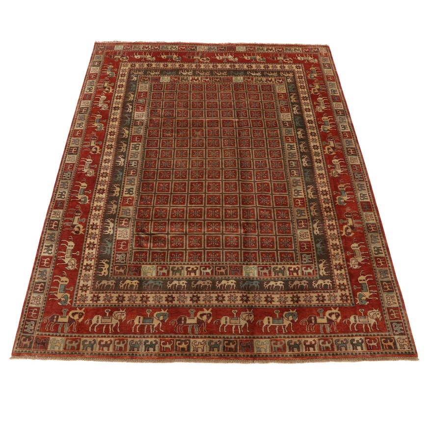 9'x 12'1 Hand-Knotted Indo-Persian Pazyryk Pictorial Room Sized Rug, 2010s