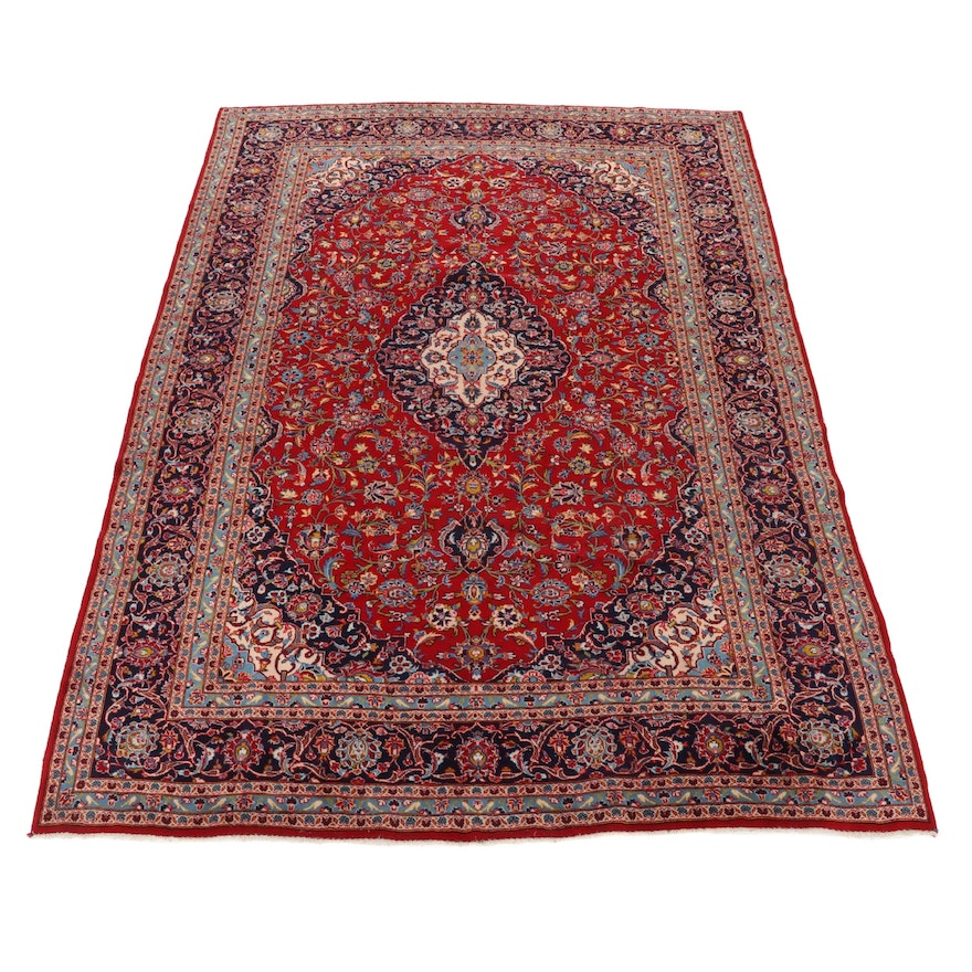 9'7 x 13'4 Hand-Knotted Persian Kashan Room Sized Rug, 1970s