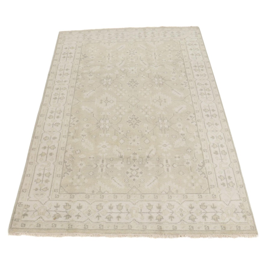 6'3 x 10' Hand-Knotted Indo-Turkish Oushak Area Rug, 2010s