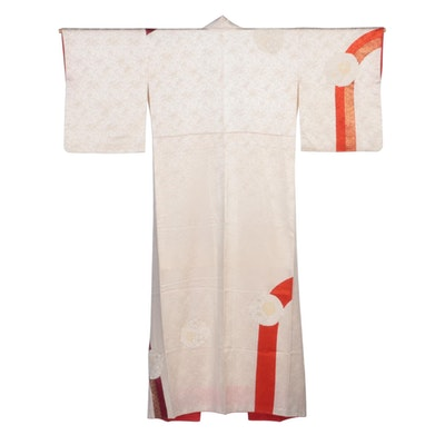 Ivory Textured Satin Floral Dyed and Hand-Painted Hōmongi Kimono, Showa Period