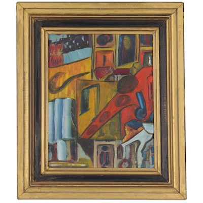 Abstract Modernist Oil Painting, Early 20th Century