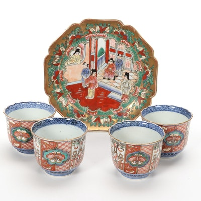 Chinese Hand-Painted Porcelain Tea Cup and Plate