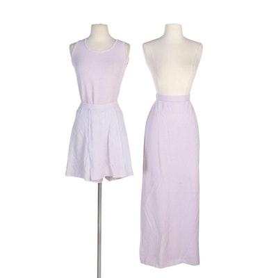 St. John Brand Pastel Lavender Knit Sleeveless Top, Skirt and Shorts