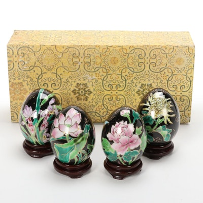 Hand-Painted Chinoiserie Porcelain Eggs with Wooden Stands