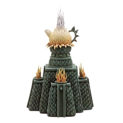 Botanically Inspired Terracotta Teapot with Mayan Style Pyramid Stand