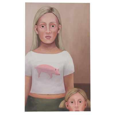"Deborah Hamon Large-Scale Surrealist Style Oil Painting ""Miss Piggy,"" 2003"