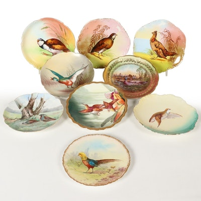 Hand-Painted Limoges Porcelain Plates with Bird Motifs