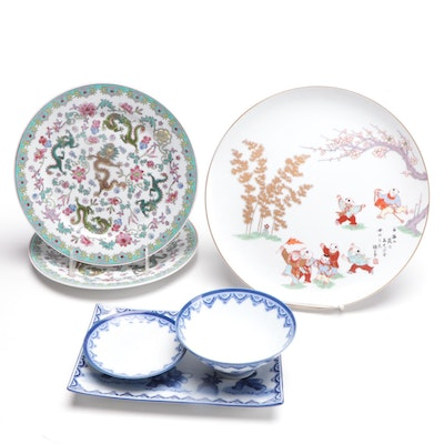 Fukagawa Porcelain and Other Asian Motif Plates and Lidded Bowl