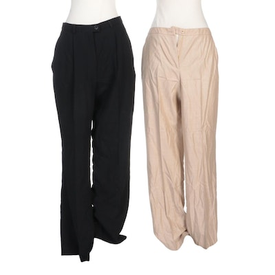 Escada Black Wool Trousers and Tan Wool Silk Blend Pants