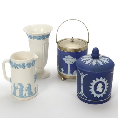 Wedgwood Embossed Queensware Vase and Jasperware  Ice Bucket and More