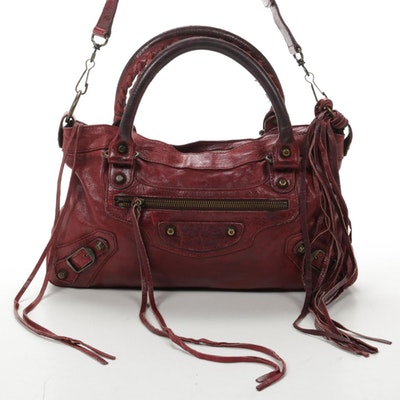 Balenciaga Two-Way City Bag in Burgundy Leather
