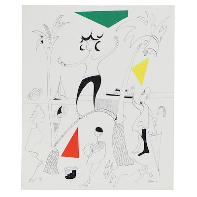 Eduardo Oliva Figural Ink Drawing with Paper Collage, 1988