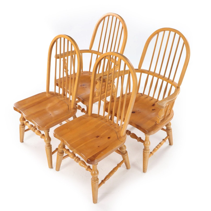 Four Pine Windsor Style Dining Chairs, Late 20th Century