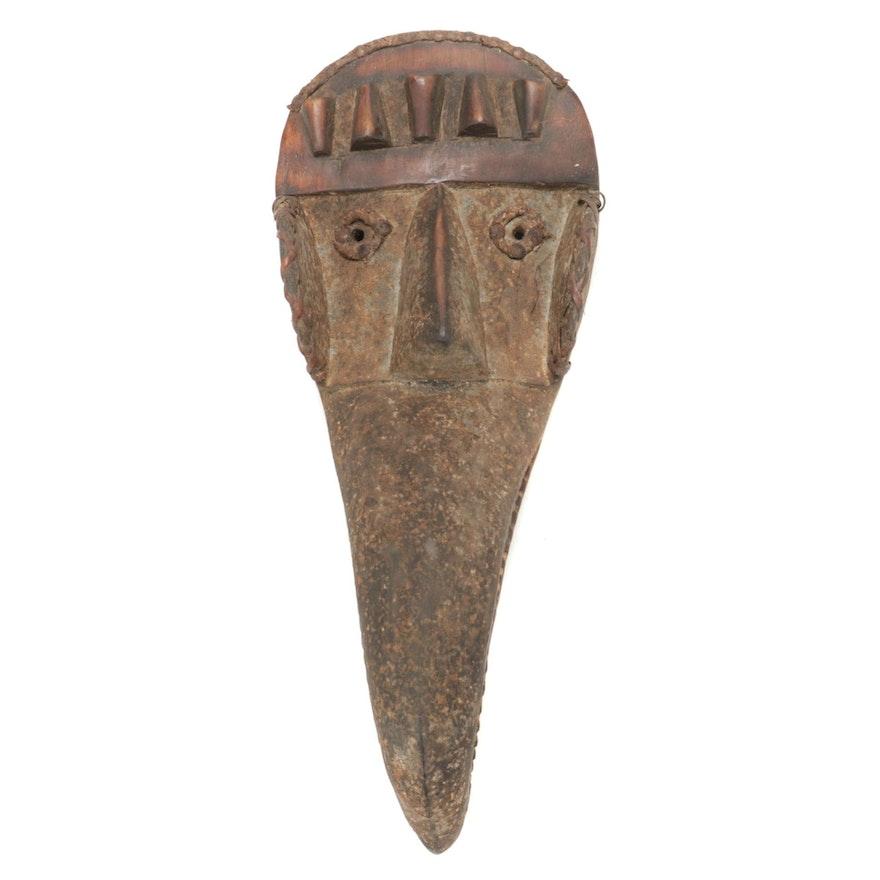 Dan-Kran Style Wood Mask with Bird Motif, West Africa