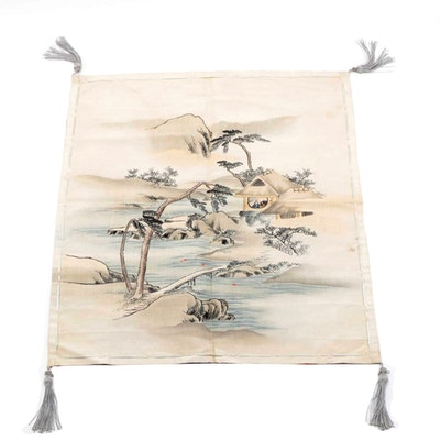 Yūzen-Dyed Fukusa Cloth Depicting Scenic Japanese Tea House