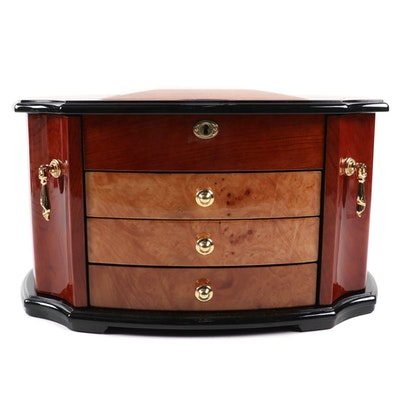 Jere Mixed Wood Veneer Jewelry Chest