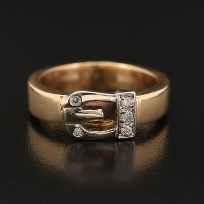 Vintage 14K Diamond Buckle Band