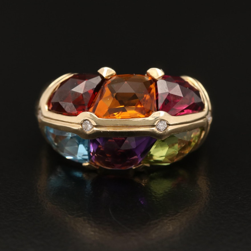 10K Freeform Ring with Citrine, Topaz, Amethyst, Peridot and Diamonds