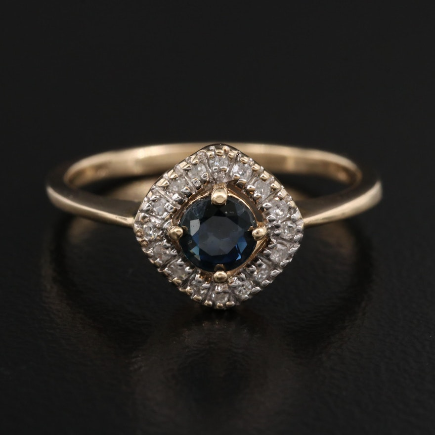 10K Sapphire and Diamond Halo Ring