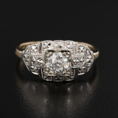 Art Deco 14K 0.44 CT Diamond Solitaire Ring