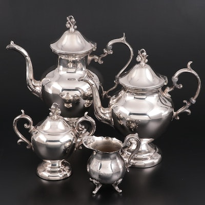 Birmingham Silver Co. Silver Plate Coffee  and Tea Set, Mid to Late 20th Century