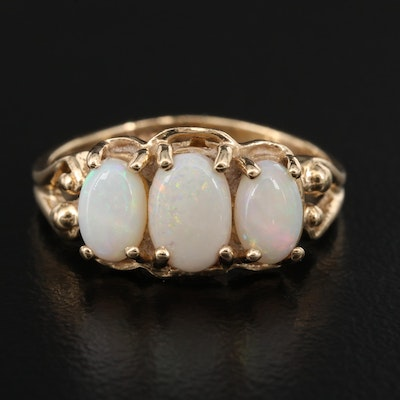 10K Opal Three Stone Ring