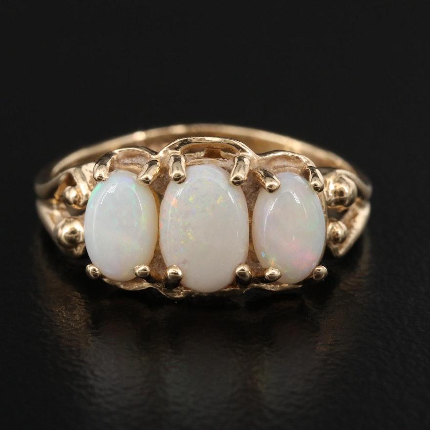 10K Opal Three Stone Ring