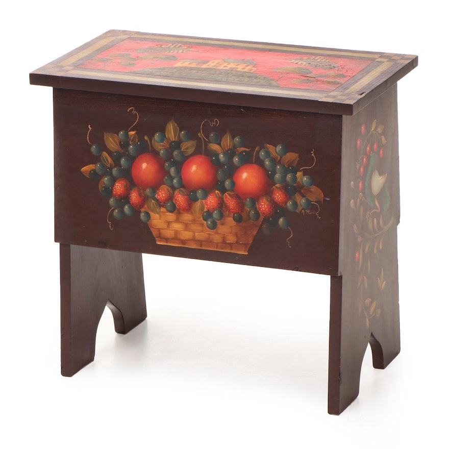 Mary Jane Todd American Primitive Style Paint-Decorated Lift-Lid Stool